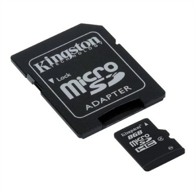Memóriakártya, microSDHC, 8GB, CL4, 4 MB/s, adapter, KINGSTON